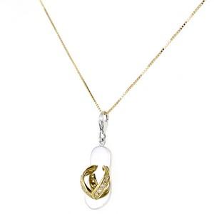 Collana con Ciondolo ciabattina infradito in oro e zirconi - gallery