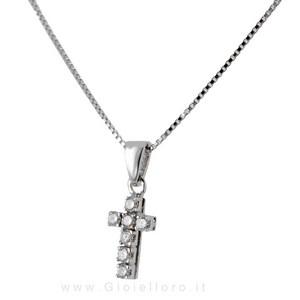 Collana con Ciondolo croce in oro bianco e diamanti ct 0.29 - gallery
