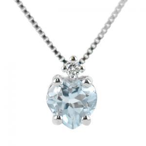 Collana con ciondolo Acquamarina Cuore e diamante - gallery