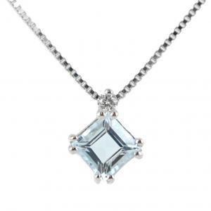 Collana con ciondolo Acquamarina Princess e diamante - gallery