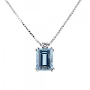 Collana con ciondolo Acquamarina rettangolare ct 2.00 e diamante  - gallery