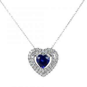 Collana con ciondolo Cuore Zaffiro 0.39 con doppio contorno di diamanti - gallery