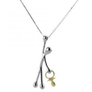 Collana con ciondolo Pensieri Felici in argento con ciuccio in oro GS1029 - gallery