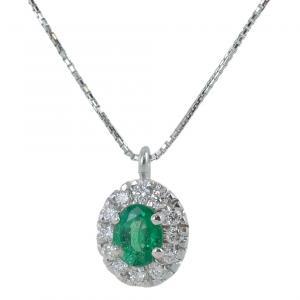 Collana con ciondolo Smeraldo Ovale e contorno di diamanti - gallery