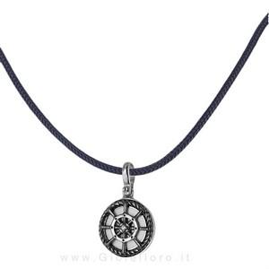 Collana con ciondolo Timone e corda nautica in argento e smalti  - gallery