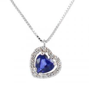 Collana con ciondolo Zaffiro a Cuore e diamanti - gallery