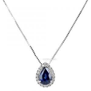 Collana con ciondolo Zaffiro a goccia e diamanti intorno Gioielli Valenza - gallery