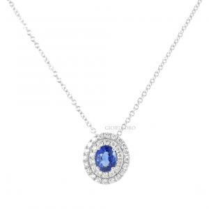 Collana con ciondolo Zaffiro ovale e diamanti doppio contorno Gioielli Valenza - gallery