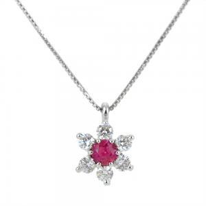Collana con ciondolo stella con rubino e diamanti - gallery