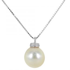 Collana con ciondolo perla Giapponese 8.50-9.00 mm e diamanti - gallery