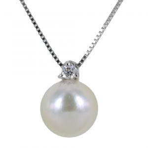 Collana con perla Akoya e diamante - perla di diametro 7.50 - 8.00 mm - gallery