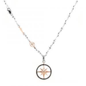 Collana da uomo Zancan in oro e diamanti neri con ciondolo Rosa dei Venti - gallery