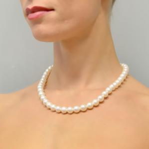 Collana filo di di Perle Acqua Dolce 9,5-10 mm AAA chiusura in argento dorato - gallery