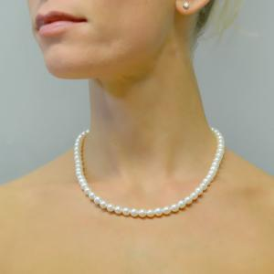 Collana filo di perle di Acqua Dolce 6.00-6.50 mm con chiusura in oro bianco - gallery