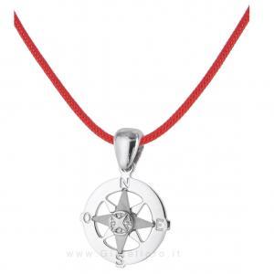 Collana in tessuto nautico con ciondolo Rosa dei Venti in argento - gallery
