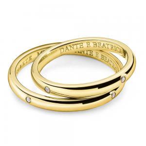 Fede Comete Gioielli Dante e Beatrice con 4 diamanti oro giallo ANB1862G - gallery