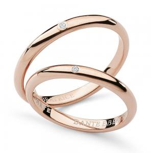 Fede Comete Gioielli Dante e Beatrice con un diamante oro rosa ANB1861R - gallery