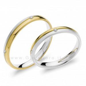 Fede Comete Gioielli Paolo e Francesca in oro bianco e giallo con 4 diamanti ANB1873BG - gallery