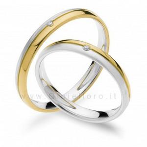 Fede Comete Gioielli Paolo e Francesca in oro bianco e giallo con diamante ANB1872BG - gallery