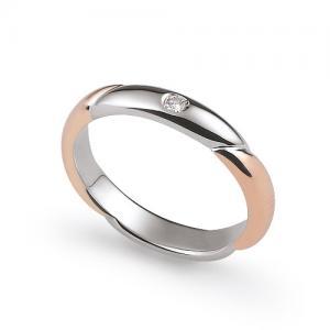 Fede Nuziale Orsini oro rosa e bianco con diamante FE308 - gallery