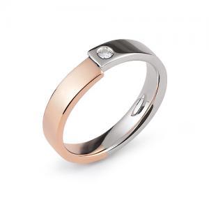 Fede Nuziale Orsini oro rosa e bianco con diamante FE313 - gallery