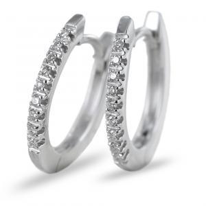 Orecchini a cerchio con diamanti ct 0.10 colore G - gallery