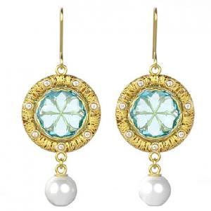 Orecchini in oro giallo con ciondolo perla e Quarzo Azzurro StilnovoLife - gallery