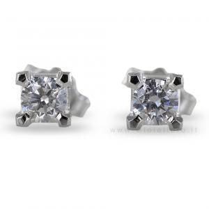 Orecchini punto luce medi con diamanti carati 0.26 F VS - gallery