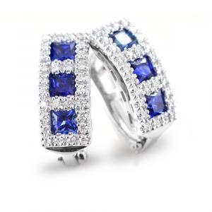 Orecchini trilogy di Zaffiri con Diamanti colore F Gioielli valenza - gallery