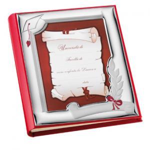 Album con Cornice in Argento LAUREA 20 x 25 cm in pelle e argento smalto rosso - gallery
