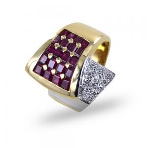Anello a fascia classico antico rubini e diamanti - gallery