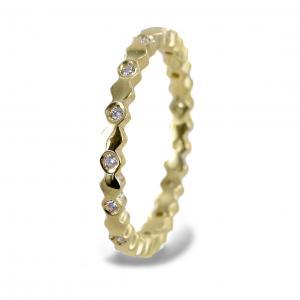 Anello fedina con diamanti e esagoni ct. 0,15 - gallery
