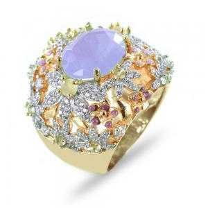 Anello a fascia fiori zirconi e quarzo lilla GIOIELLI SAMUI - gallery