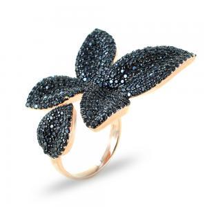 Anello a fiore nero in argento e zirconi GIOIELLI SAMUI - gallery