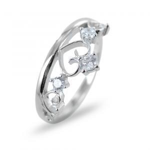 Anello a forma di corona in argento con zirconi misura 18 - gallery