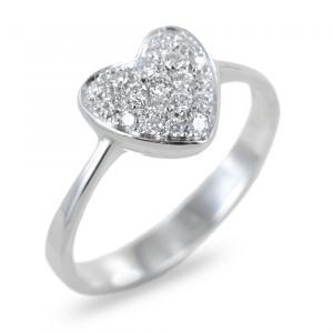 Anello a forma di cuore con pave di diamanti - gallery