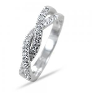 Anello a intreccio di diamanti ct 0.26 G VS - gallery