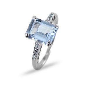 Anello Acquamarina rettangolare e diamanti sul gambo - gallery