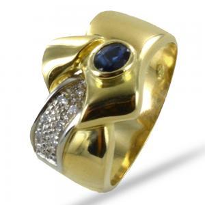Anello classico a fascia in oro giallo con Zaffiro e Diamanti - gallery