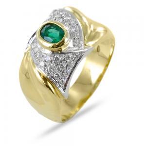 Anello classico con smeraldo e diamanti su nodo in oro giallo - gallery