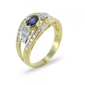 Anello classico con zaffiro e diamanti su tre fasce in oro giallo - gallery