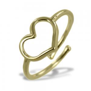 Anello con cuore traforato in argento color oro giallo - gallery