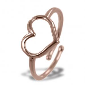 Anello con cuore traforato in argento rose - gallery