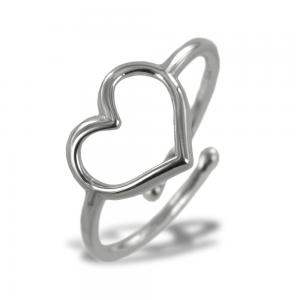 Anello con cuore traforato in argento silver - gallery