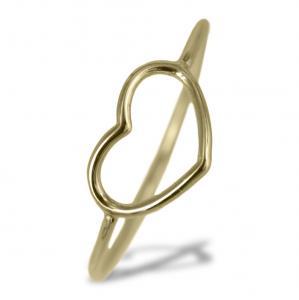 Anello con cuore traforato in oro giallo - gallery