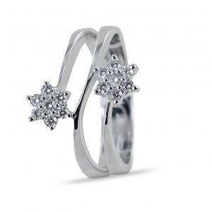 Anello con doppia stella di diamanti su tre fasce Gioielli Valenza - gallery
