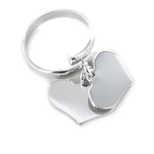 Anello con doppio ciondolo cuore pendente in argento - gallery