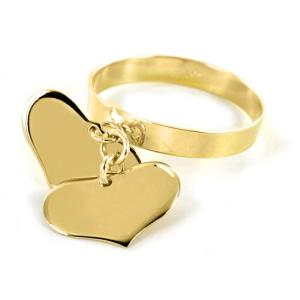 Anello con due ciondoli cuore in oro giallo - gallery