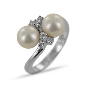 Anello con Perla Freshwater e diamanti - gallery