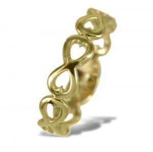 Anello con simbolo infinito e cuori in oro giallo - gallery